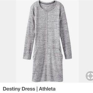 Athleta   Gray Destiny Long Sleeve Dress